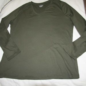 Lane Bryan Long Sleeve Green  Cotton T-Shirt